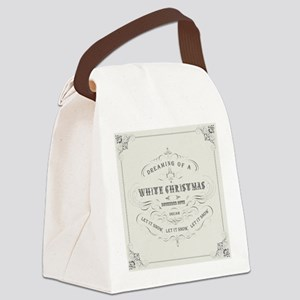 Vintage White Christmas Canvas Lunch Bag