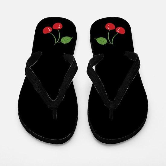 Retro Cherries Black Flip Flops