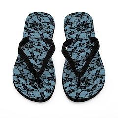Blue And Black Lace Pattern Flip Flops