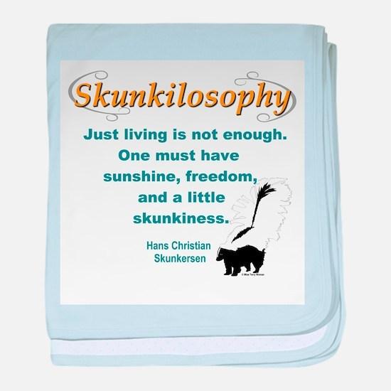 Skunkilosophy Just Living baby blanket