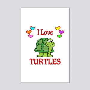 I Love Turtles Mini Poster Print