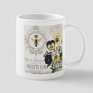 Modern Vintage French Pansies Mug