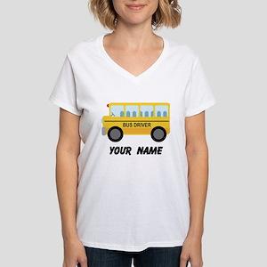 Personalized School Bus Driver Women's V-Neck T-Sh