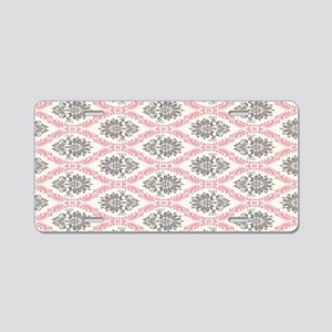pink grey cream elegant dam Aluminum License Plate
