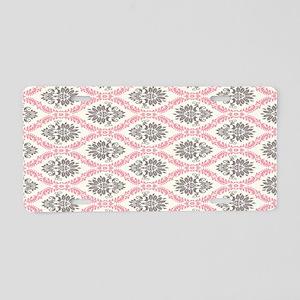 pink grey cream elegant dam Aluminum License Plate