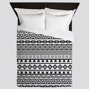 Aztec Influence B/w Queen Duvet