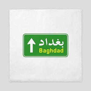 Baghdad Arabic Traffic Sign Queen Duvet