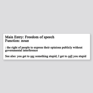 Free Speech Defined Bumper Sticker