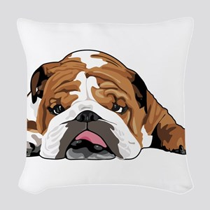 Teddy the English Bulldog Woven Throw Pillow