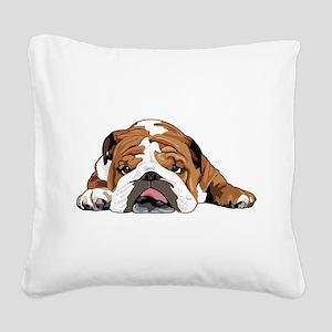 Teddy the English Bulldog Square Canvas Pillow