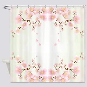 Cherry Blossom OIn Pink And White Shower Curtain