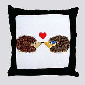 Cuddley Hedgehog Couple with Heart Throw Pillow