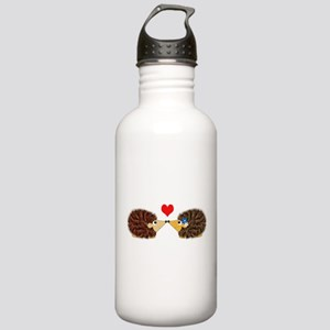 Cuddley Hedgehog Couple with Heart Water Bottle