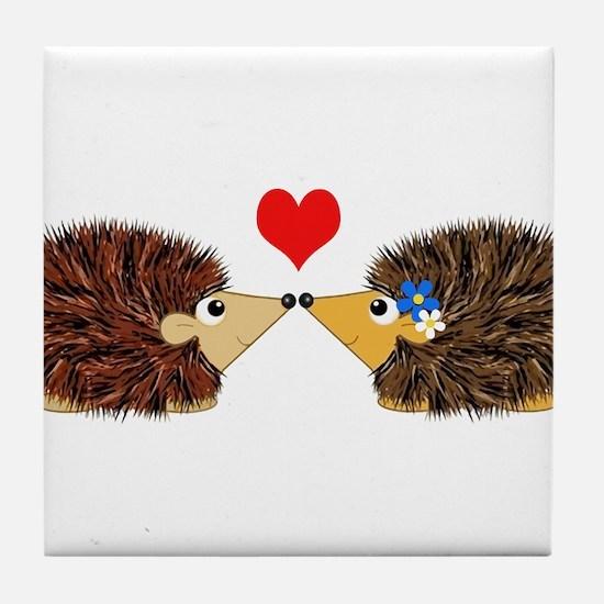 Cuddley Hedgehog Couple with Heart Tile Coaster