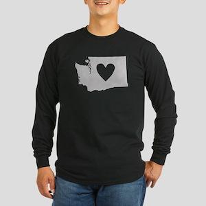 Heart Washington Long Sleeve Dark T-Shirt