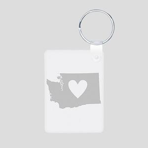 Heart Washington Aluminum Photo Keychain