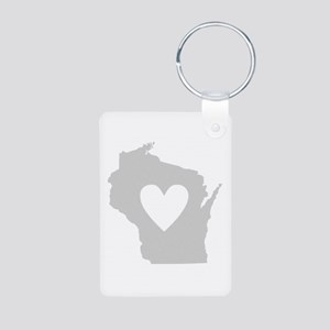 Heart Wisconsin Aluminum Photo Keychain