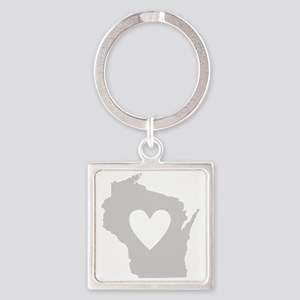 Heart Wisconsin Square Keychain
