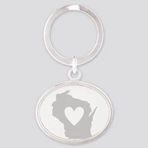 Heart Wisconsin Oval Keychain