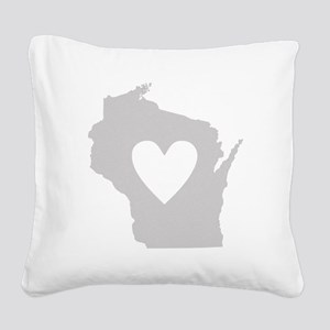 Heart Wisconsin Square Canvas Pillow