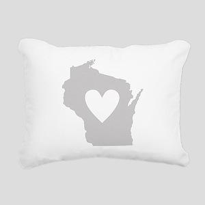 Heart Wisconsin Rectangular Canvas Pillow