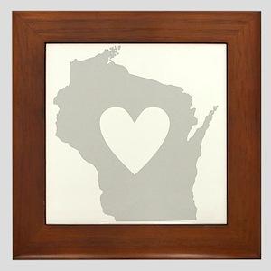 Heart Wisconsin Framed Tile