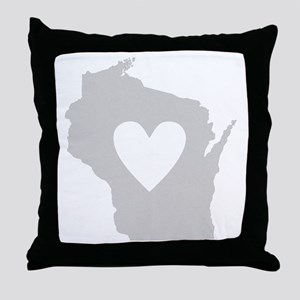 Heart Wisconsin Throw Pillow