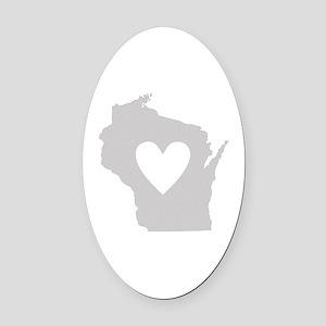 Heart Wisconsin Oval Car Magnet