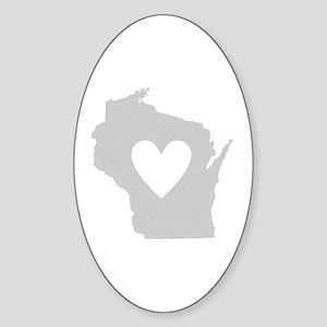 Heart Wisconsin Sticker (Oval)