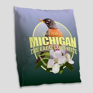 Michigan State Bird & Flower Burlap Throw Pillow