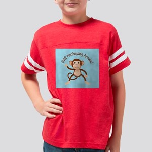 Just Monkeying Around Blue St Youth Football Shirt