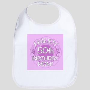 50th Birthday For Mom (Floral) Bib