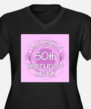 50th Birthday For Mom (Floral) Women's Plus Size V