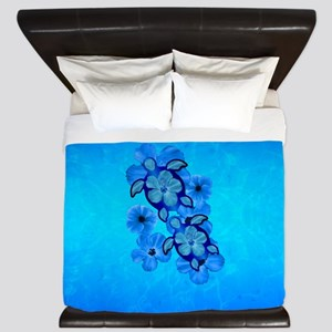 Blue Hawaiian Honu Turtles King Duvet
