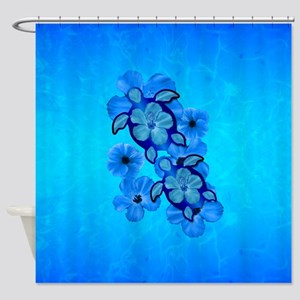 Blue Hawaiian Honu Turtles Shower Curtain
