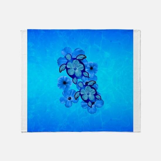 Blue Hawaiian Honu Turtles Throw Blanket