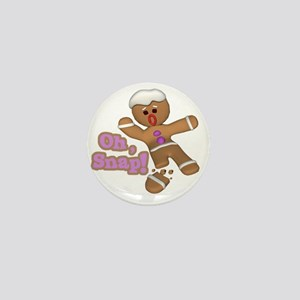 funny cute oh snap gingerbread man Mini Button