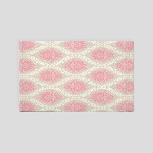 lovely pink pastel damask pattern 3'x5' Area Rug