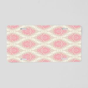 lovely pink pastel damask p Aluminum License Plate