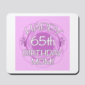 65th Birthday For Mom (Floral) Mousepad