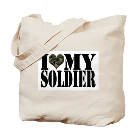 I Love My Soldier Tote Bag