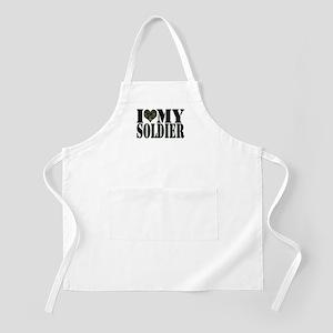 I Love My Soldier BBQ Apron