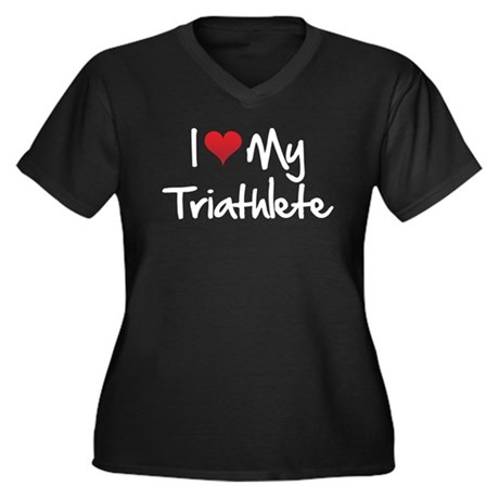 I-heart-my-triathlete-handofsean-white Plus Size T