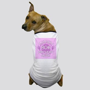 80th Birthday For Mom (Floral) Dog T-Shirt