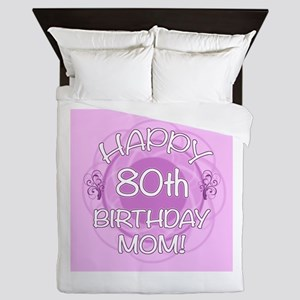 80th Birthday For Mom (Floral) Queen Duvet