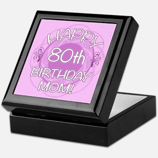 80th Birthday For Mom (Floral) Keepsake Box