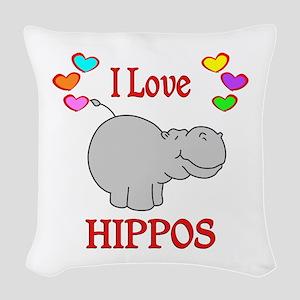 I Love Hippos Woven Throw Pillow
