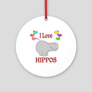 I Love Hippos Ornament (Round)