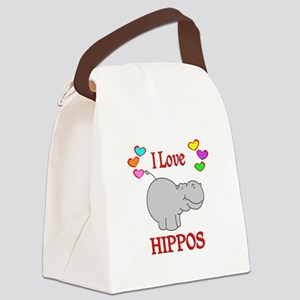I Love Hippos Canvas Lunch Bag