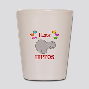 I Love Hippos Shot Glass